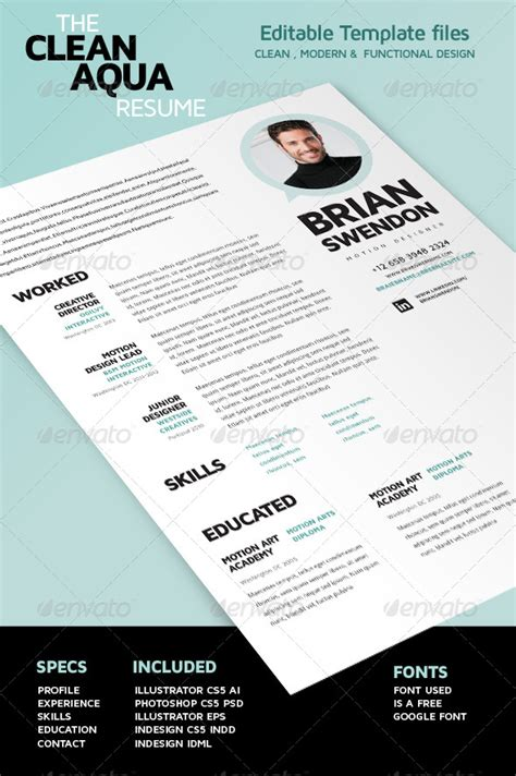 resume template photoshop cs5 simple clean resume cv graphicriver