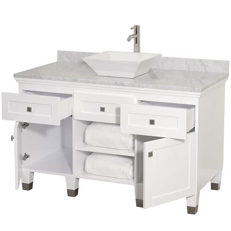 Bathroom Tower Cabinet White - 48 quot premiere 48 white bathroom vanity bathroom vanities bath kitchen and beyond