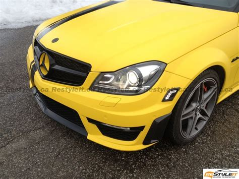 matte yellow mercedes c63 vehicle customization shop