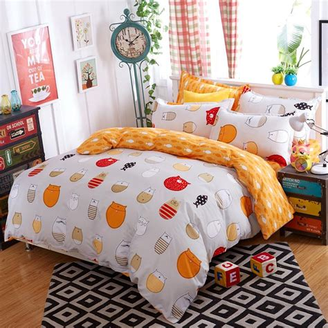 3 4 bed sheets 2016 new 3 4pcs lovely cat cartoon kids bedding set bed