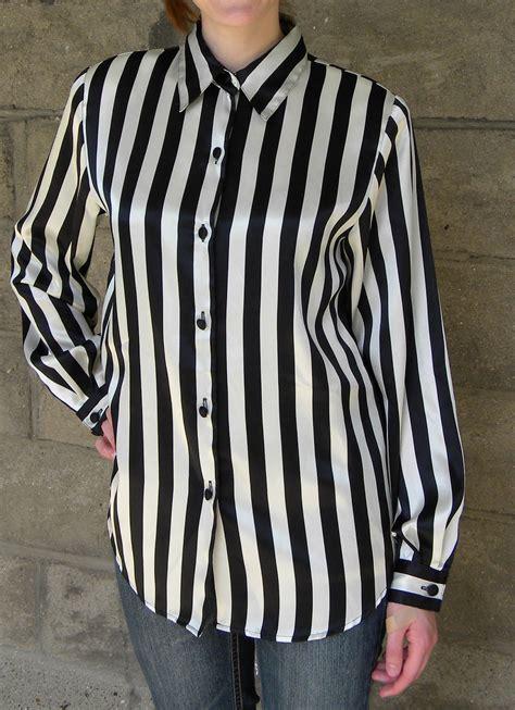 White Stripe Blouse satin black white stripe blouse