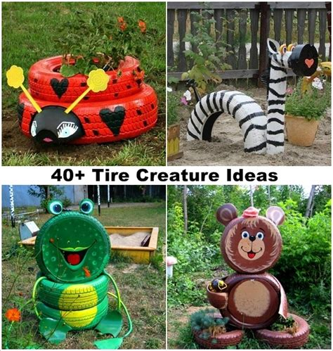 Garden And Craft Ideas 40 Ideas To Craft Recycled Tire Creatures For Your Garden