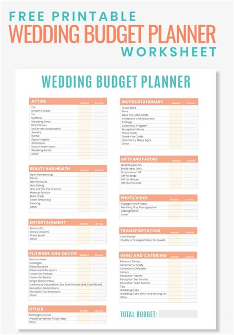 printable wedding budget planner worksheet