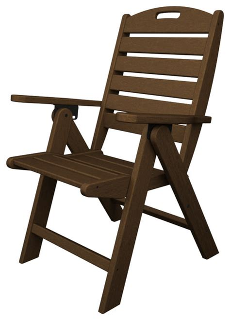 Plastic High Back Patio Chairs by Nautical High Back Folding Chair Mahogany Outdoor Recycled