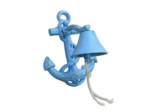 buy rustic light blue cast iron wall mounted anchor bell 8