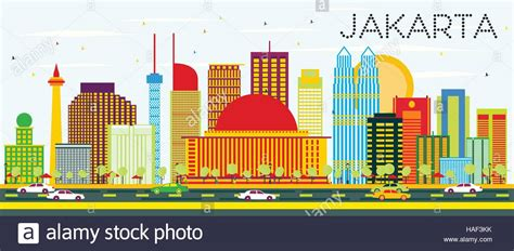 indonesia detailed skyline vector illustration stock jakarta skyline with color buildings and blue sky vector