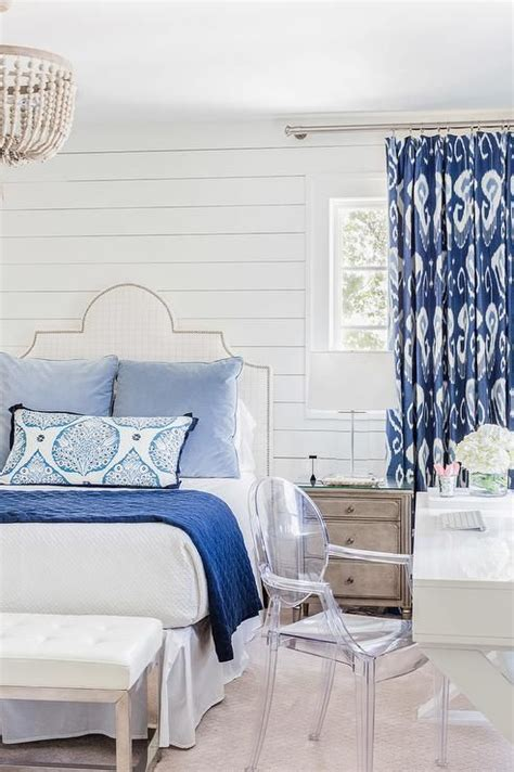 Shiplap Headboard Wall White And Blue Bedroom Boasts Shiplap Walls Lined With A