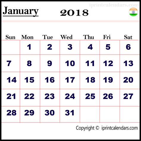 India Calendã 2018 January 2018 Calendar India Templates Tools