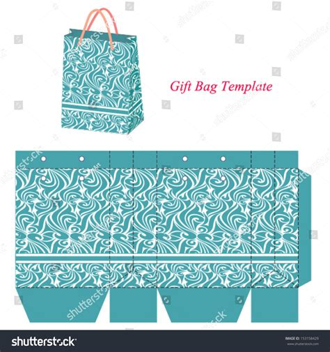 gift bag cards for baby template blue gift bag template with seamless pattern vector