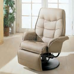 leather like swivel recliner beige coaster furniture