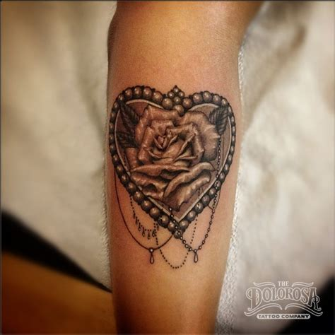 rose city tattoo pin hearts black and grey flower banner on