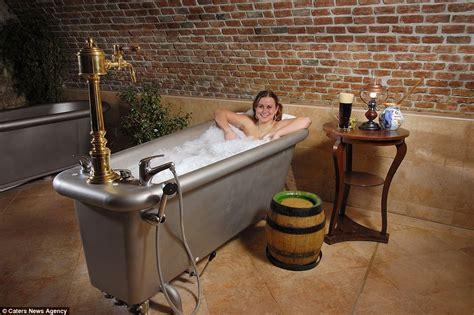beer bathtub the chodova hotel spa where guests soak in baths filled