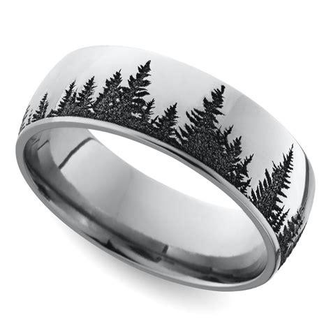 laser carved forest pattern s wedding ring in cobalt