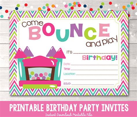 printable jump birthday invitations bounce house instant download birthday party invitation