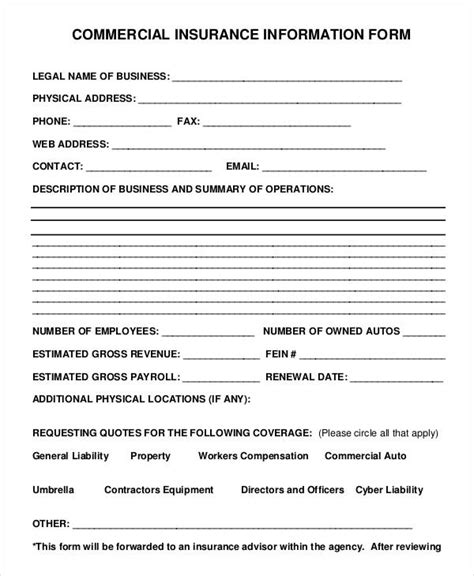commercial insurance policy forms