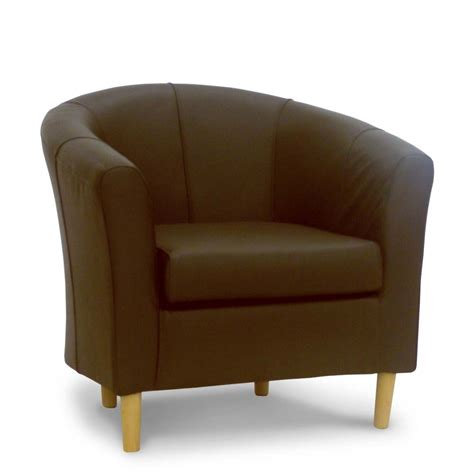 Brown Leather Tub Chair Brown Real Leather Chairs Ebay Living Room Chairs