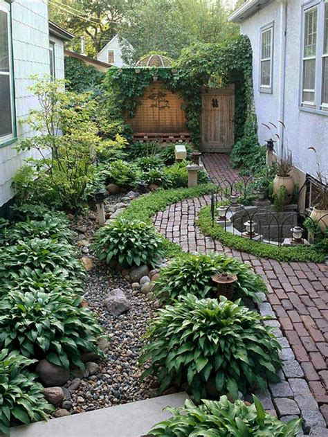 Small Garden Landscaping Ideas Narrow Side Yard House Design With Simple Landscaping Ideas And Garden No Grass With Trees And