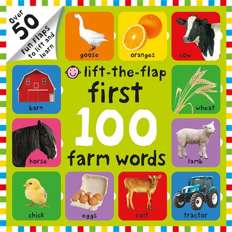 Words A Lift The Flap Board Book Ltf Hnk Fword 100 farm words lift the flap roger priddy macmillan