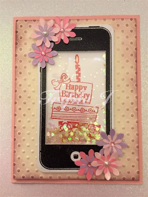 Where Can I Sell My Handmade Cards - handmade birthday greeting card iphone flowers cake