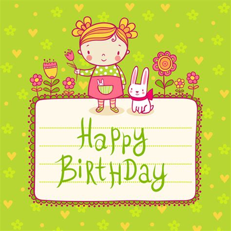kawaii birthday card template child with rabbit birthday card vector vector