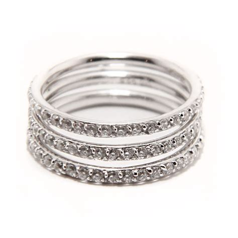 Silver Rings by Sterling Silver Cz Stackable Ring Set Sstr00513