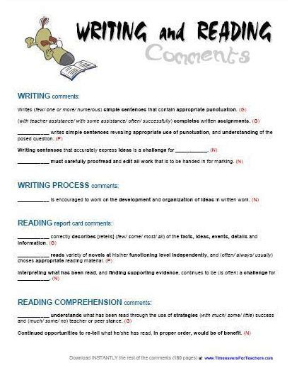 Reprt Card Comment Template by Report Card Comments Reading Writing Timesavers For