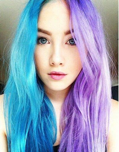 half colored hair half blue half purple hair colorful hair hair dyed