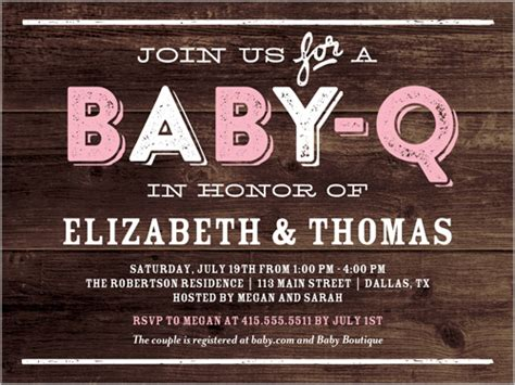 Baby Q Party Girl 4x5 Greeting Card Baby Shower Invitations Shutterfly Baby Q Invitations Templates Free