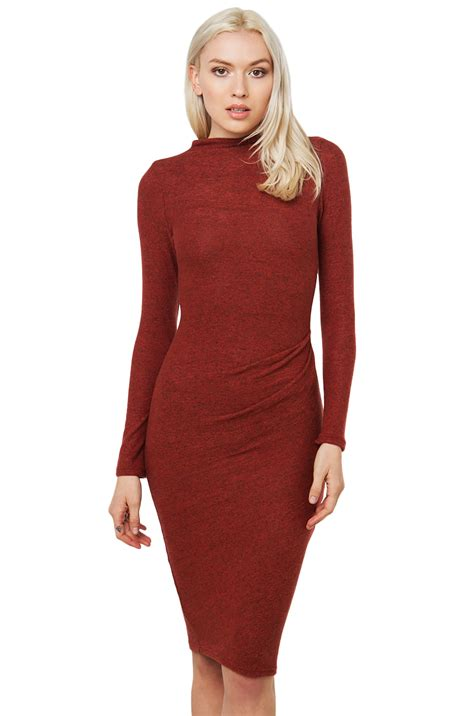 Sweater Dress Ii by Lyst Side Ruched Sweater Dress In Brown