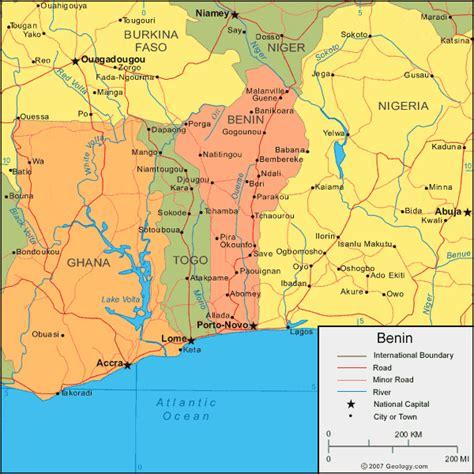 benin physical map benin map and satellite image