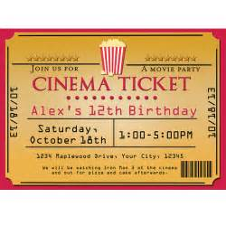 ticket birthday invitation template cinema theater popcorn ticket birthday event