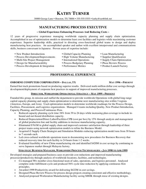 Resume Skills Exles Manufacturing Manufacturing Executive Resume