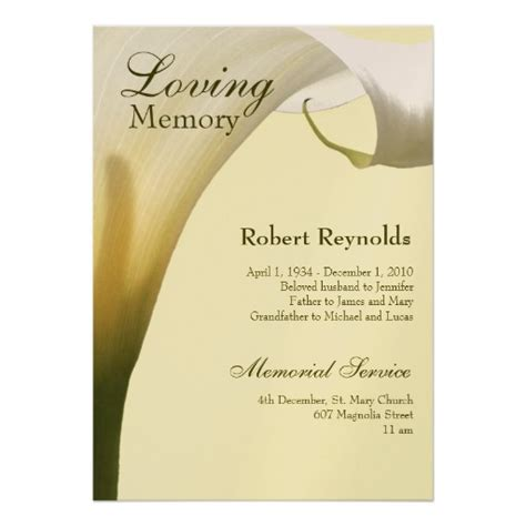 memorial service notice template memorial announcement 5 quot x 7 quot invitation card zazzle