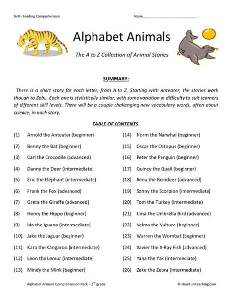 reading comprehension test online for cat reading comprehension worksheet alphabet animals collection