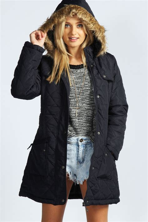 Quilted Parkas by Boohoo Womens Grace Quilted Fur Parka Jacket