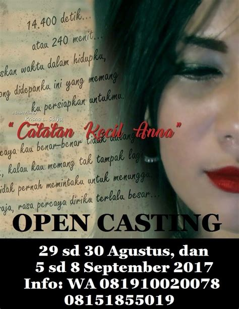 open casting film indonesia 2016 open casting untuk webseries catatan kecil anna