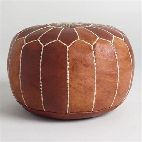 pouf ottoman market caramel leather moroccan pouf market