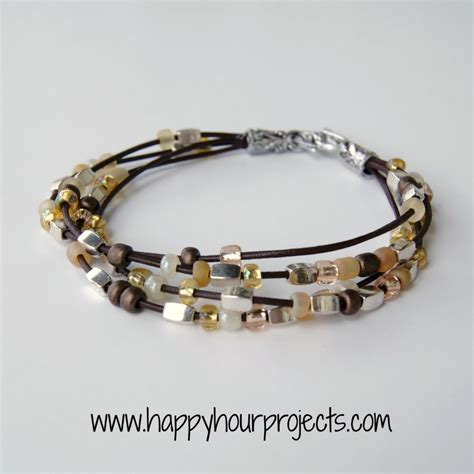 how to bead bracelets bead leather bracelet happy hour projects