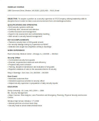 security supervisor resume 8 sle security officer resumes sle templates
