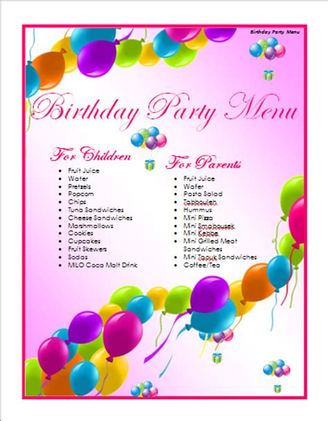 birthday menu card template birthday menu template microsoft word templates