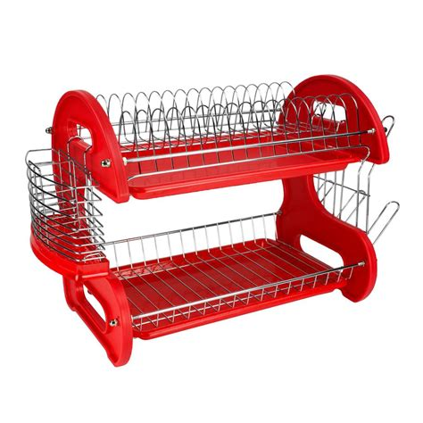 Home Basics 2 Tier Dish Rack by Home Basics 2 Tier Plastic Dish Drainer Dd10248 The