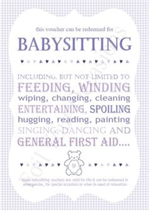 printable vouchers baby printable baby sitting voucher perfect for my nieces and