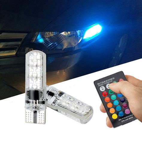 Led Senja T10 Rgb Remote Silicon Hq 2x t10 5050 led rgb multi color interior wedge side light strobe remote ebay
