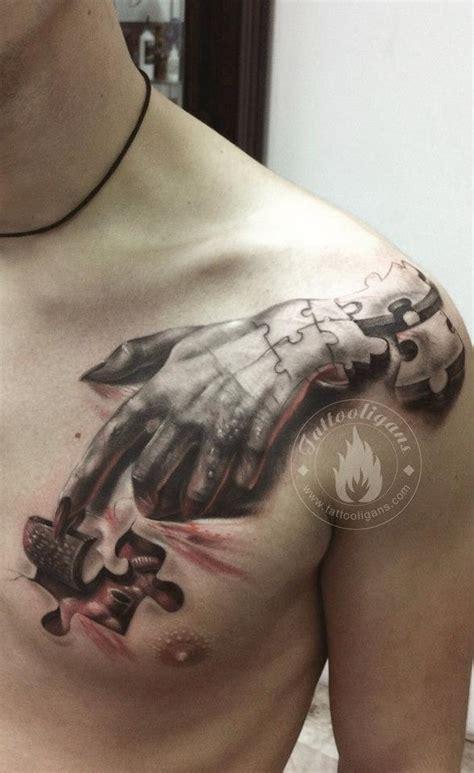 best 3d tattoo uk tatouage main puzzle inkage
