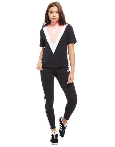 lyst adidas originals high neck chevron t shirt in black