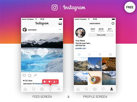 download layout from instagram instagram feed profile screen free ai by marina dribbble