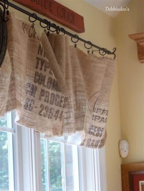 diy valance curtain diy no sew burlap kitchen valances made from coffee bags
