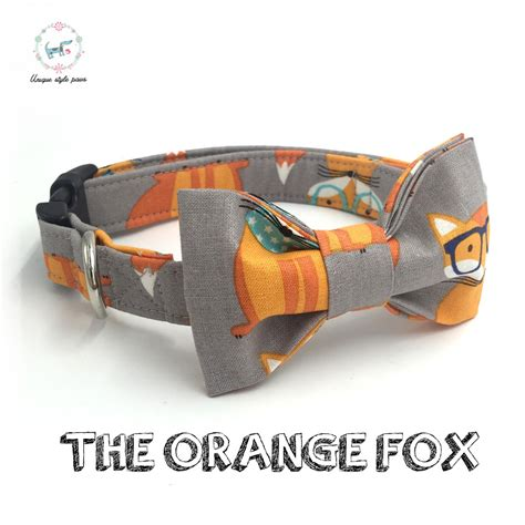 Handmade Pet Collars - the orange fox collar set with bow tie personal custom
