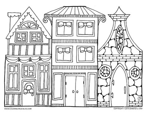 christmas village coloring page printable coloring pages
