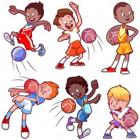 imagenes de niños haciendo jugando dibujos animados de ni 241 os jugando dodgeball vector clip